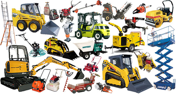 collage of various types of heavy equipment