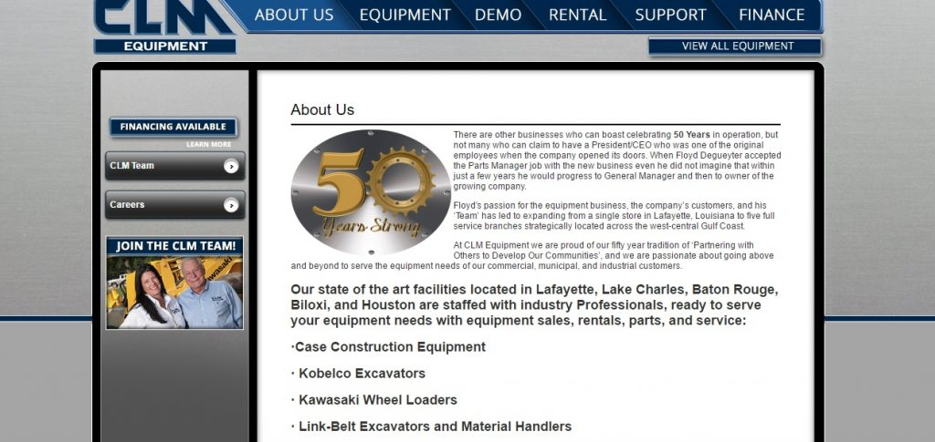 CLM Equipment rental company website