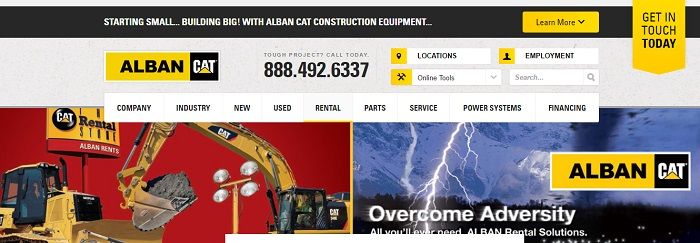 construction equipment rental delaware alban cat