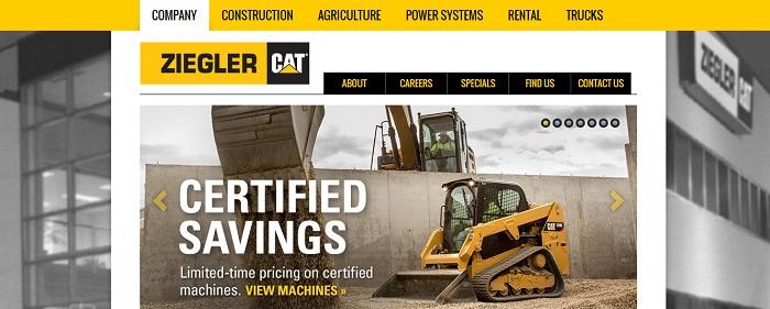 construction equipment rental iowa ziegler cat