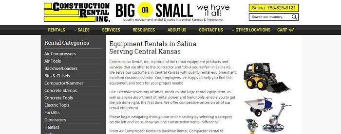 construction equipment rental kansas construction rental inc