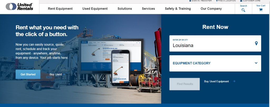 construction equipment rental louisiana united rentals