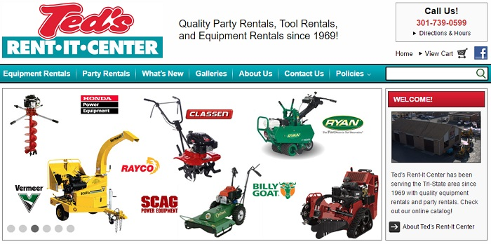 construction equipment rental maryland ted's rent it center