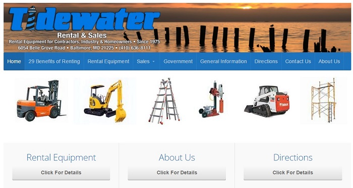 construction equipment rental maryland tidewater rental