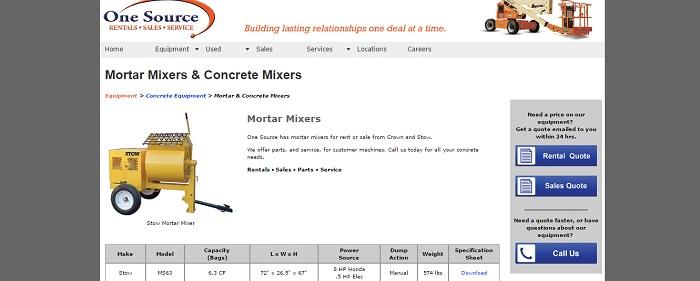 mortar mixers rentals illinois