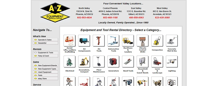 A to Z Equipment Rentals and Sales Arizona