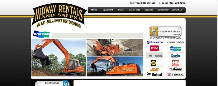 construction equipment rental michigan Midway Rentals and Sales