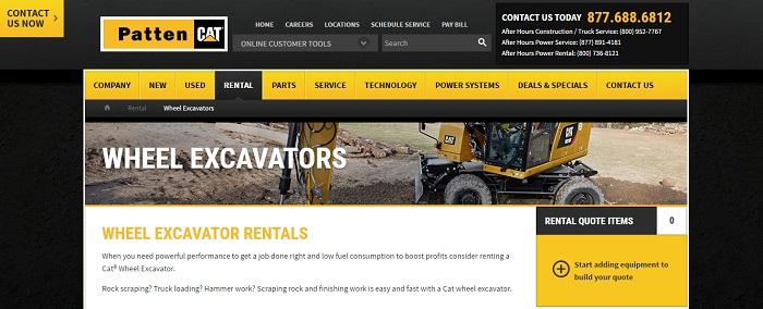 wheel excavators rental illinois
