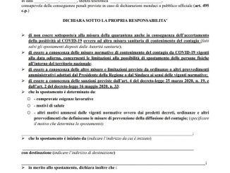 Autocertificazione spostmenti covid ottobre Lombardia lazio campania