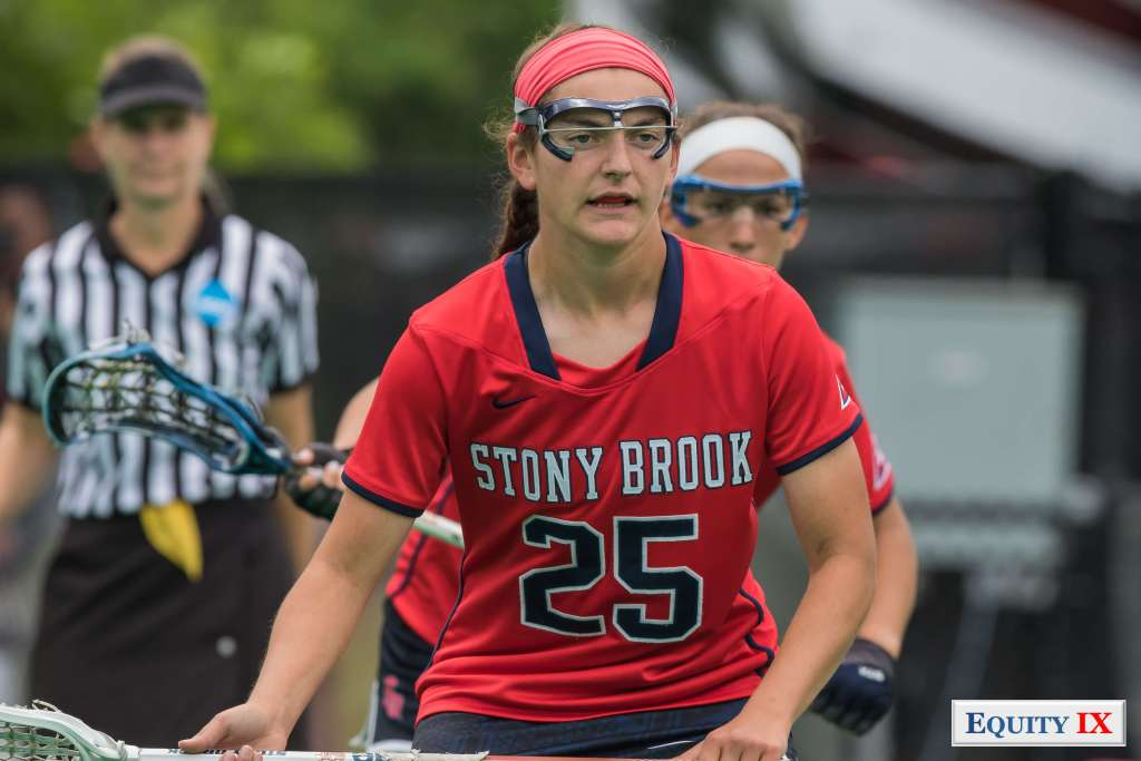 #25 Brooke Gubitosi - Stony Brook - NCAA Women's Lacrosse is top defender with red headband and goggles © Equity IX - SportsOgram - Leigh Ernst Friestedt