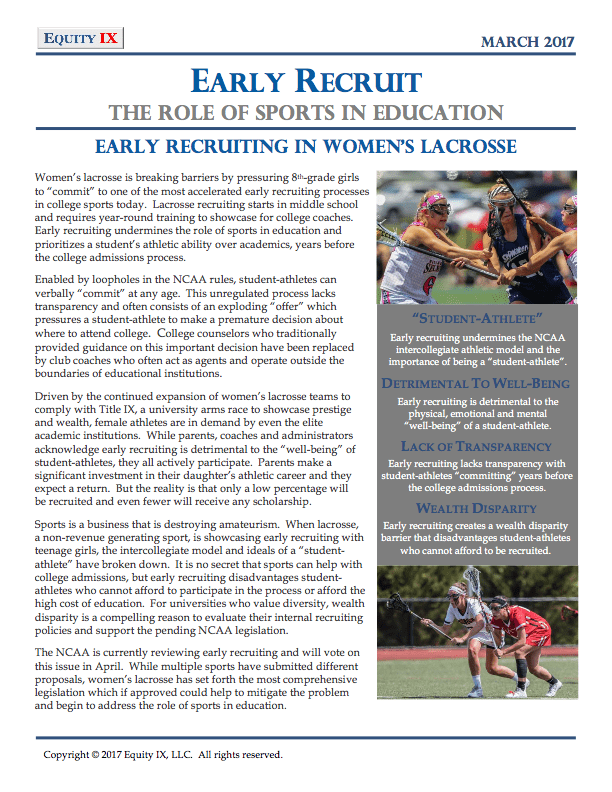 Early Recruit: The Role of Sports in Education © Equity IX - Leigh Ernst Friestedt