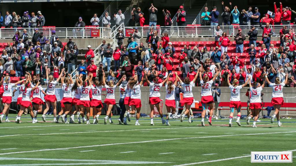 Stony Brook Women's Lacrosse team celebrating by running in line with their hands in the air to celebrate a win on the Road to the Final Four and NCAA title national championship © Equity IX - SportsOgram - Leigh Ernst Friestedt