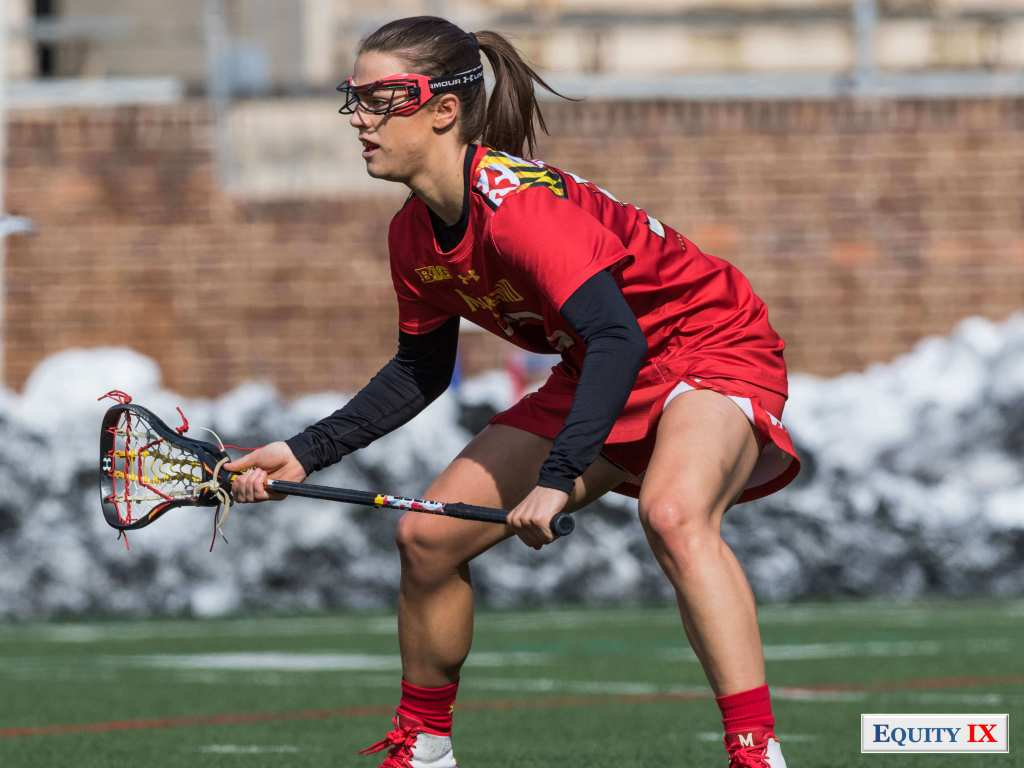 #33 Kathy Rudkin plays defense - Maryland - NCAA Women's Lacrosse © Equity IX - SportsOgram - Leigh Ernst Friestedt