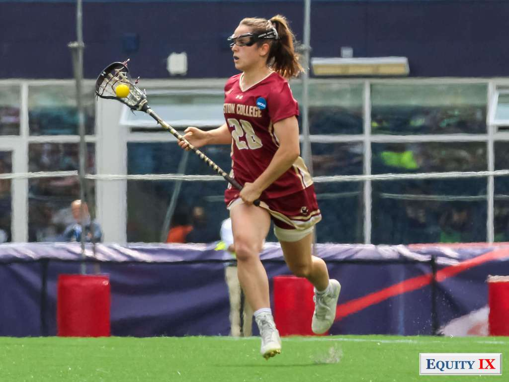 #28 Brooke Troy - Boston College - carries the ball in midfield at 2017 NCAA Women's Lacrosse Championship Game © Equity IX - SportsOgram - Leigh Ernst Friestedt