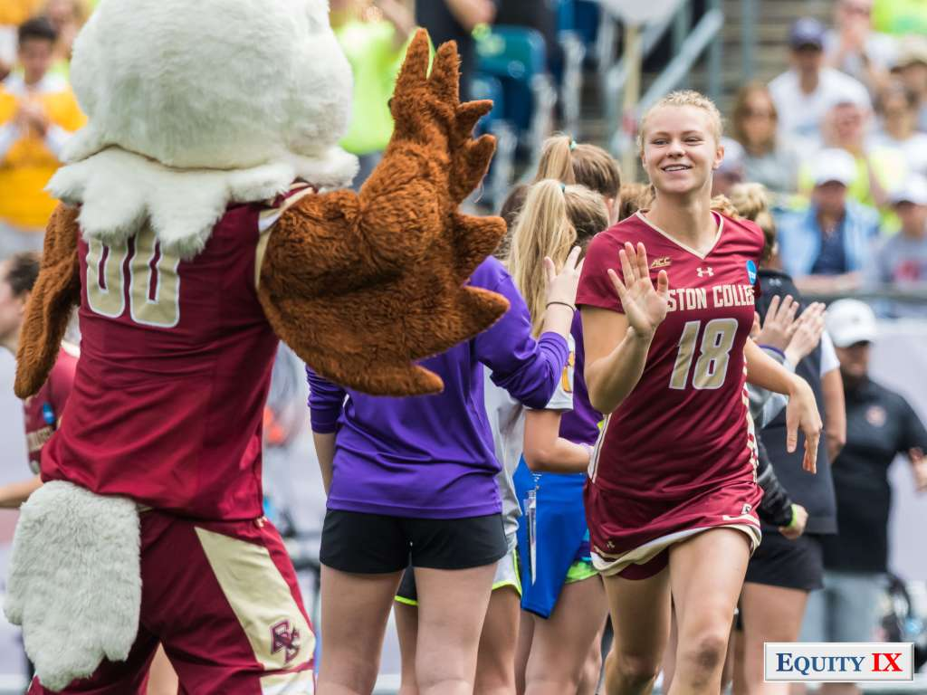 #18 Dempsey Arsenault - high fives Boston College Eagles mascot at 2017 NCAA Women's Lacrosse © Equity IX - SportsOgram - Leigh Ernst Friestedt