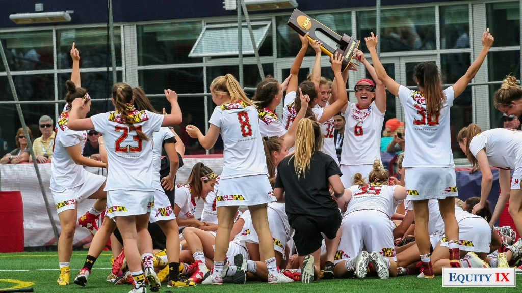 Maryland women's lacrosse team celebrates with NCAA trophy after winning the 2017 NCAA Women's Lacrosse Champions © Equity IX - SportsOgram - Leigh Ernst Friestedt