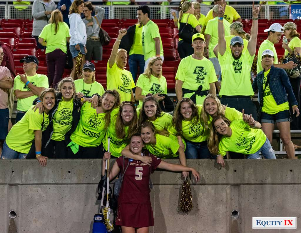 #5 Tess Chandler (Boston College) celebrates with Boston College friends and fans after win against Maryland at 2018 NCAA Women's Lacrosse Final Four Semi Finals © Equity IX - SportsOGram - Leigh Ernst Friestedt - Photo by Margaret Hyatt