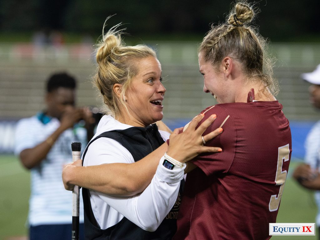 Head Coach Acacia Walker celebrates with Tess Chandler after Boston College defeats #1 Maryland at 2018 NCAA Women's Lacrosse Final Four © Equity IX - SportsOgram - Leigh Ernst Friestedt