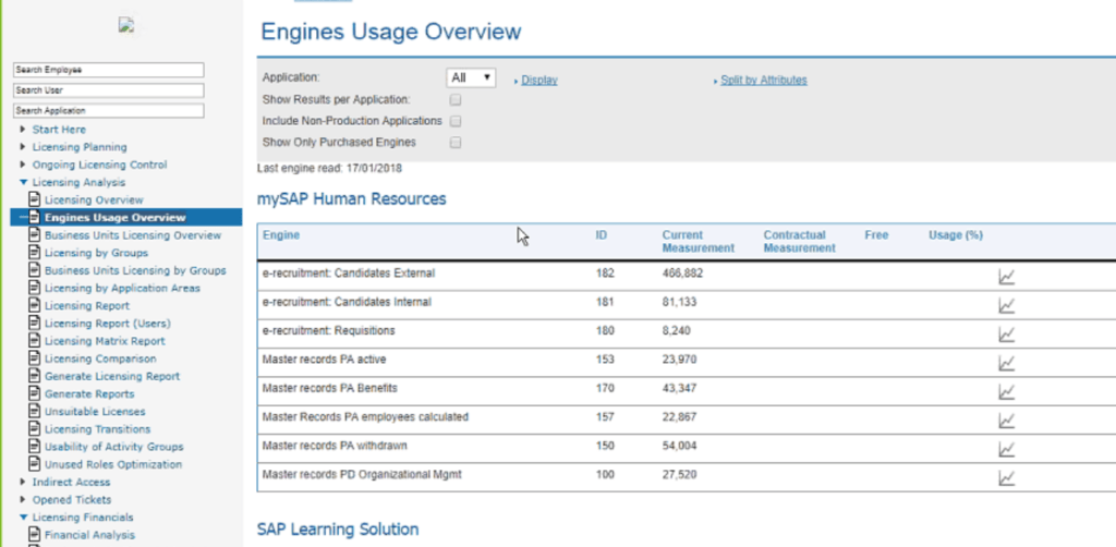 CLR for SAP Applications - engines usages overview