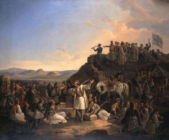 Η επανάσταση του 1821 παρουσιάζεται ως «ελληνική ανταρσία». Συγκεκριμένα αναφέρεται ότι οι Ρωμιοί ζούσαν ευτυχισμένοι, απολαμβάνοντας τα προνόμιά τους. Ήταν πλούσιοι, σχεδόν ανεξάρτητοι και ζούσαν καλύτερα και από τους Τούρκους. Αλλά οι ξένες δυνάμεις, ειδικά οι Ρώσοι, τους ξεσήκωσαν. Ο ξεσηκωμός ήταν υπεύθυνος για την αδυναμία των Οθωμανών να κάνουν μεταρρυθμίσεις.  Το στρατόπεδο του Καραϊσκάκη στην Καστέλα, Θεόδωρος Βρυζάκης (1855).