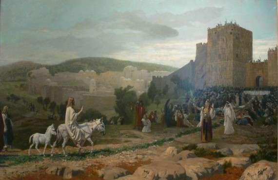 Έίσοδος του Ιησού. Παραδοσιακά, η άφιξη σε ένα γαϊδουράκι σημαίνει ειρήνη.