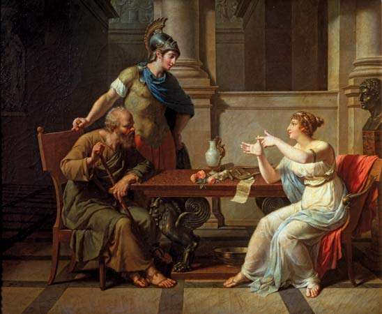 Ο Αλκιβιάδης (όρθιος) με τον Σωκράτη (κάθεται στα αριστερά) και η Ασπασία, André Monsiau, 1801, Μουσείο Καλών Τεχνών Πούσκιν της Μόσχας