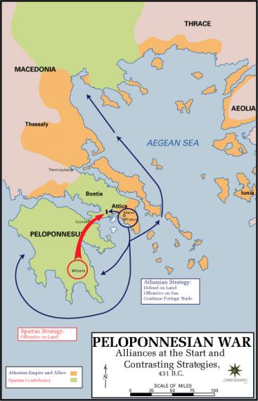 Ο Πελοποννησιακός Πόλεμος ανάμεσα στη Αθηναϊκή και την Πελοποννησιακή Συμμαχία, υπό την ηγεμονία της Σπάρτης, διήρκεσε, με μερικές ανακωχές, από το 431 π.Χ. έως το 404 π.Χ. και έληξε με την ολοκληρωτική ήττα των Αθηναίων, δίνοντας τέλος στον πολιτισμικό «χρυσό αιώνα».