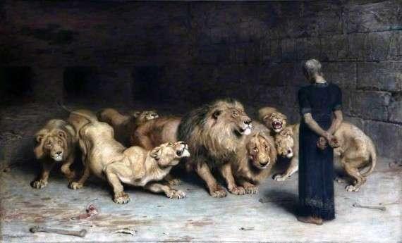 """""""Ο Δανιήλ στο Λάκκο με τα Λιοντάρια» του Briton Riviere."""