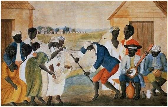 Αφρικανοί σκλάβοι χορεύουν σε μια φυτεία της Νότιας Καρολίνας. John Rose, 1785.