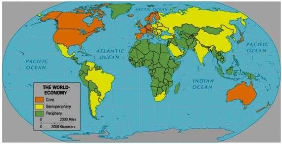 Παγκόσμιος χάρτης της ανάλυσης κοσμοσυστημάτων με τις χώρες του πυρήνα, της ημιπεριφέρειας και της περιφέρειας, 2010.