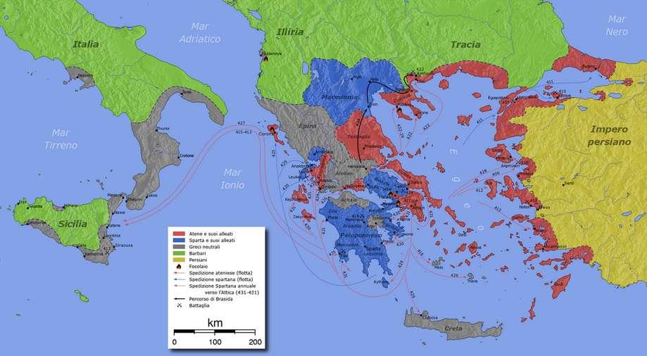 Χάρτης του Πελοποννησιακού Πολέμου. Στον χάρτη απεικονίζονται οι συμμαχίες και οι στρατιωτικές επιχειρήσεις του πολέμου (ιταλικά)