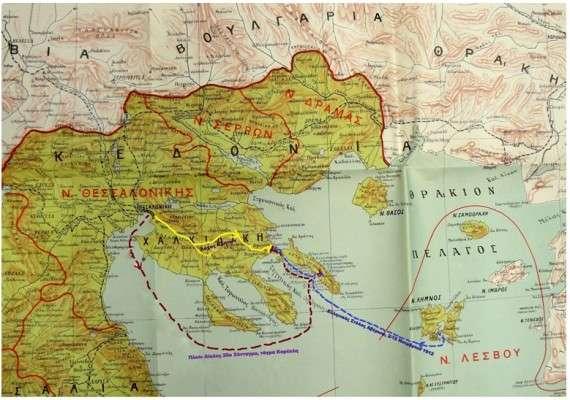 Χάρτης του 1915. Πάνω του απεικονίζονται οι διαδρομές των στρατιωτικών σωμάτων για την κατάληψη της Ιερισσού και του Αγίου Όρους.
