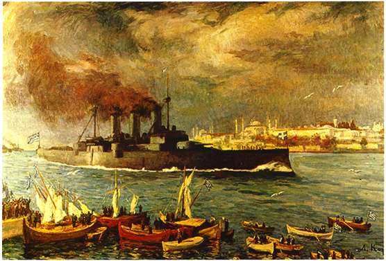 Το θωρηκτό «ΑΒΕΡΩΦ», ζωγραφική του Λυκούργου Κογεβίνα.