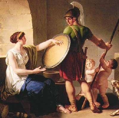 "Jean-Jacques-Francois Le Barbier. Spartan woman giving the shield to her son (""With it or on it!""), 1805. Portland Art Museum (Oregon, USA)"