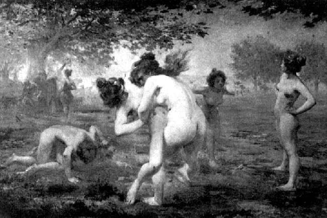 Emmanuel Croise. Wrestling of Spartan girls, 1903 Illustration from the resource Wake Forest Student