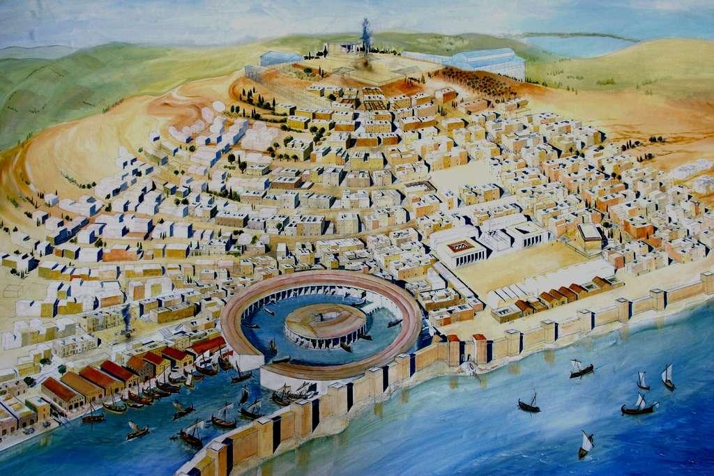 Αρχαία Καρχηδόνα, απεικόνιση. Artist Rendering of Ancient Carthage.