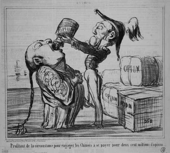 Γελοιογραφία της εποχής για τον πόλεμο του οπίου
