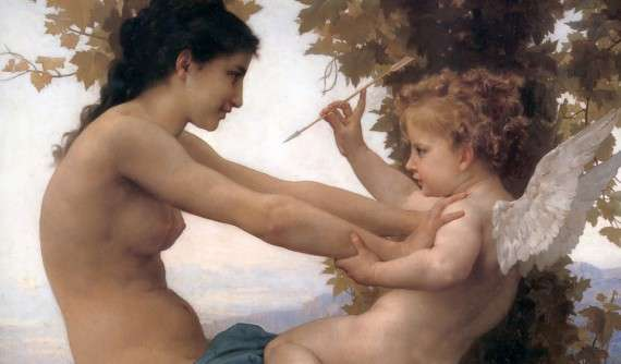 """Detail of painting of """"Young Girl Defending Against Cupid"""" by Adolphe Bouguereau, 1880"""