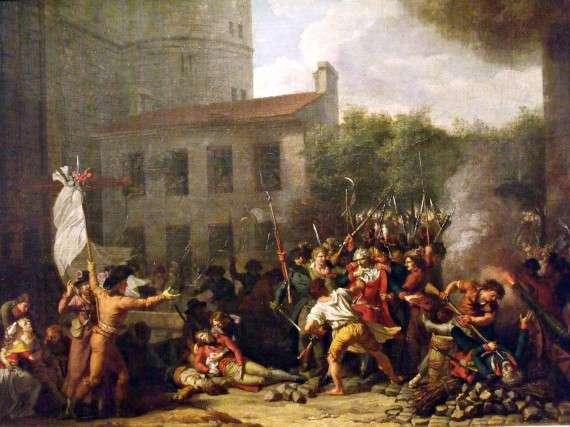 Charles Thévenin, Arrestation de Monsieur de Launay, dans la deuxième cour de la Bastille, le 14 juillet 1789, 1793, musée Carnavalet, Paris.