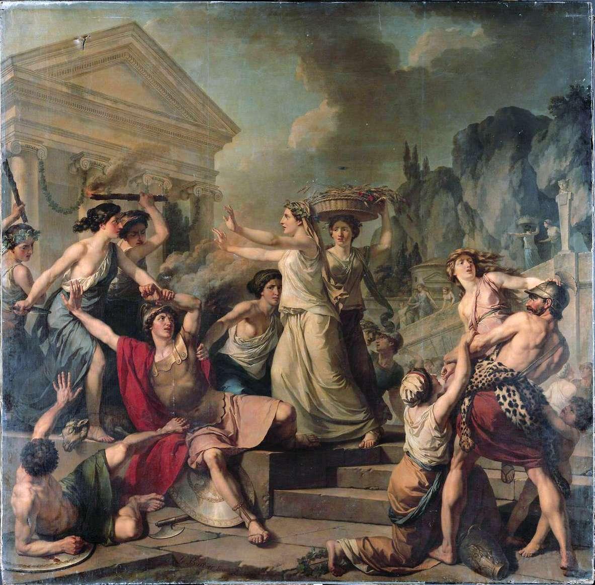 Women in ancient Sparta.  Jean-Jacques-François Le Barbier - Courage des femmes de Sparte.
