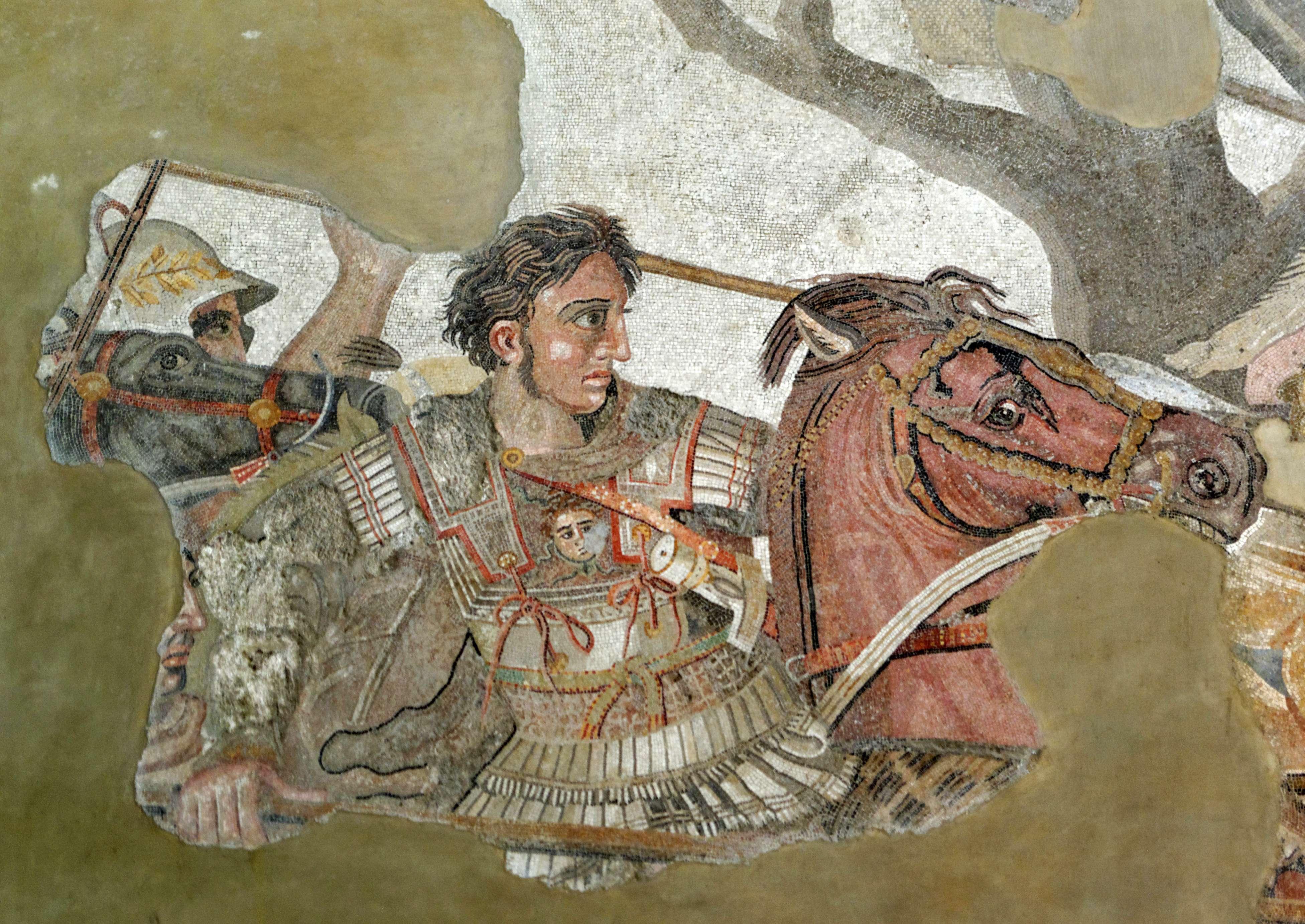 Ο Αλέξανδρος στη μάχη της Ισσού. Λεπτομέρεια ψηφιδωτού από την οικία του Φαύνου στην Πομπηία (περ. 100 π.Χ.).