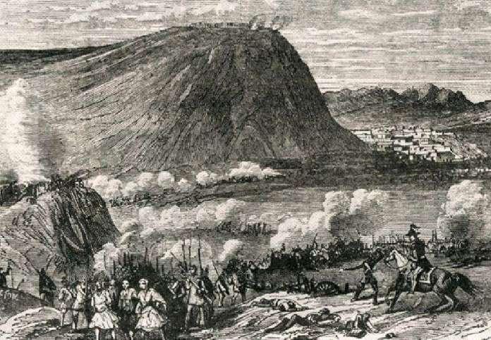 Το Ναύπλιο κατά τη διάρκεια της πολιορκίας από τα βασιλικά στρατεύματα.