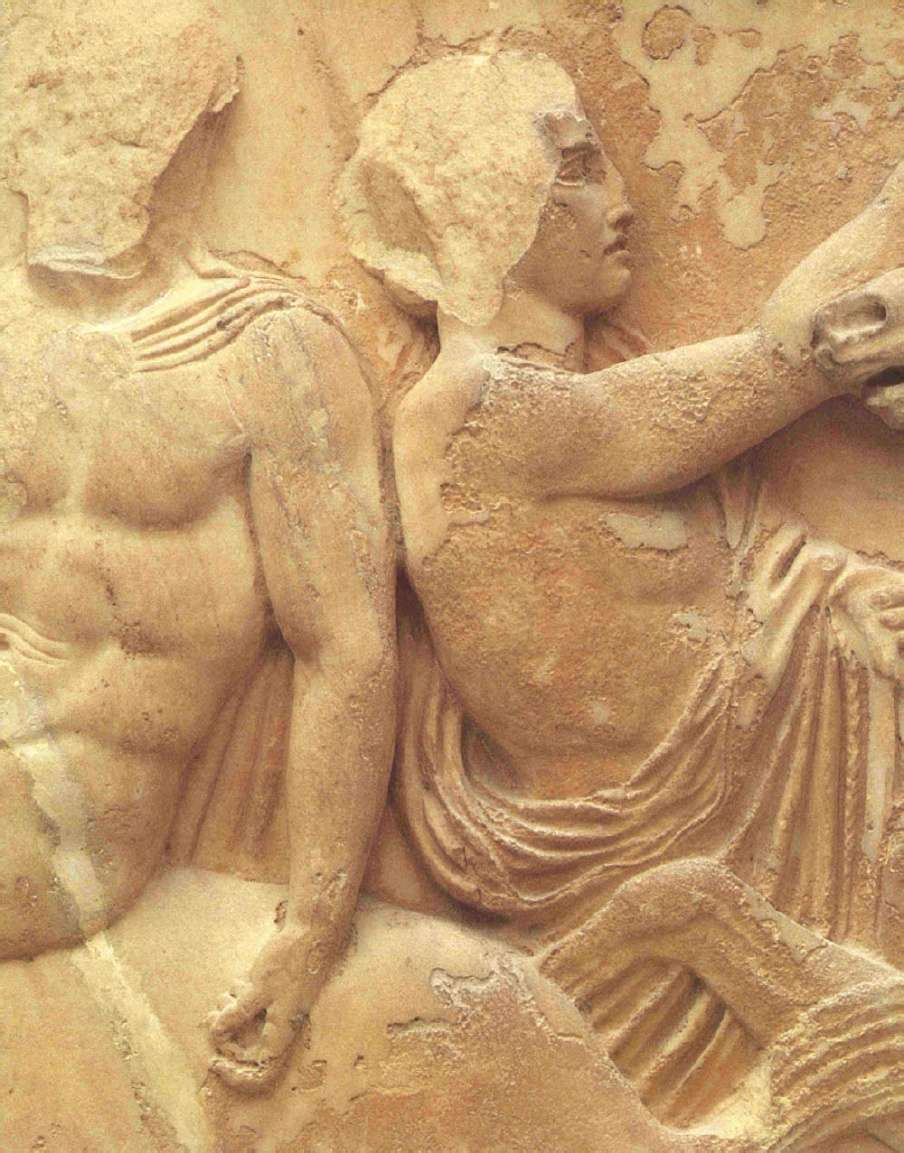 Ο 29Ος λίθος της βόρειας ζωφόρου του Παρθενώνα με παράσταση τελετάρχη ανάμεσα σε τρεις ιππείς (Λεπτομέρεια). Μουσείο Ακροπόλεως. Αθήνα. The 29th Stone of the Parthenon's northern frieze, featuring a feast between three horsemen (Detail). Acropolis Museum. Athena.