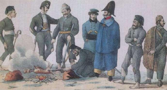 Δύο Γάλλοι αξιωματικοί ανάμεσα στους άντρες του Δημ. Υψηλάντη.