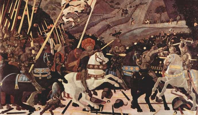 Πάολο Ουτσέλλο (Paolo Uccello, 15 Ιουνίου 1397 - 10 Δεκεμβρίου 1475). Μάχη του Σαν Ρομάνο: Ο Niccolò da Tolentino οδηγεί τους Φλωρεντινούς. Λονδίνο, Εθνική Πινακοθήκη.