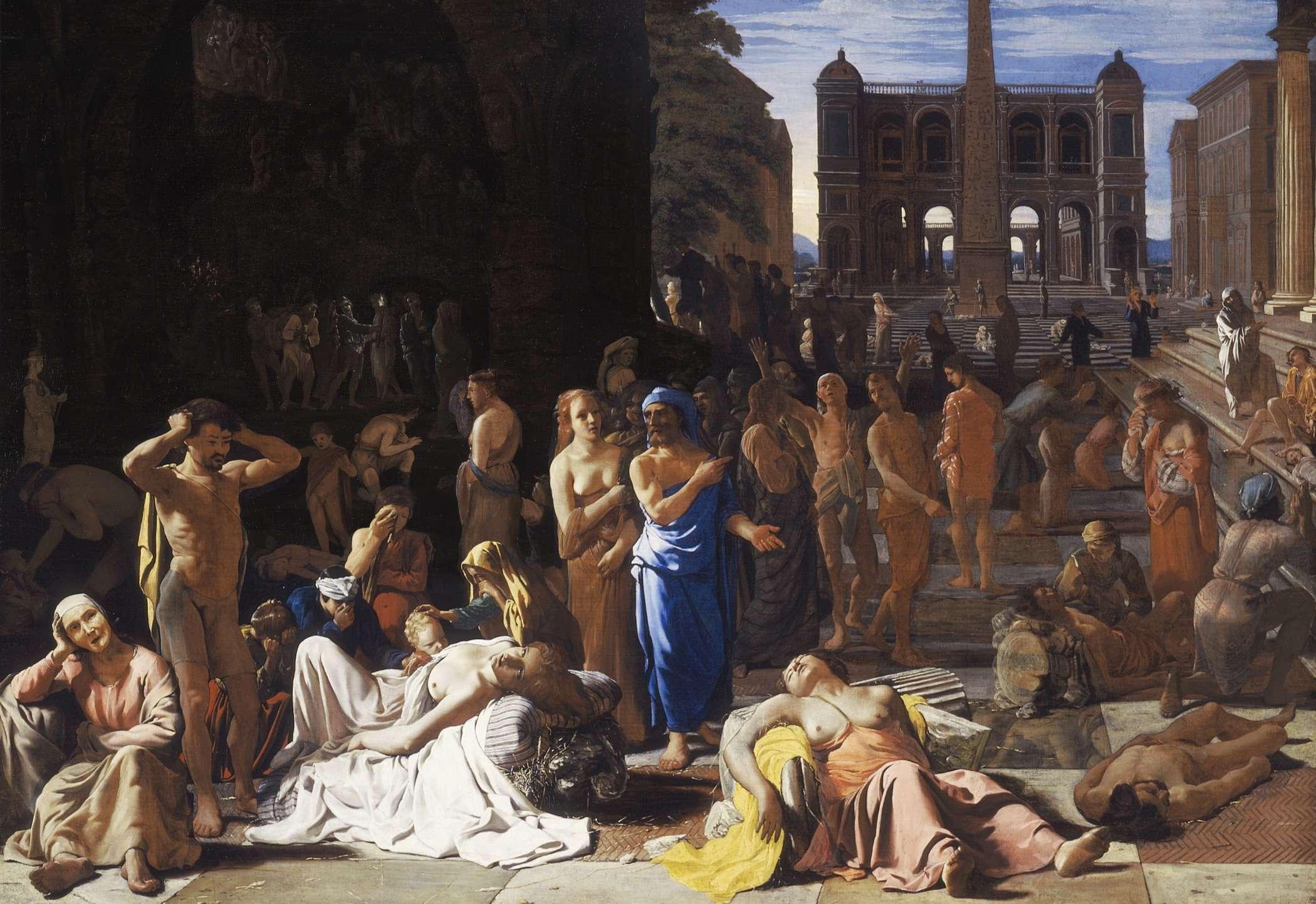 Λοιμός σε αρχαία πόλη, πίνακας του 17ου αιώνα του Μίχιελ Σβέιρτς· θεωρείται ότι αναφέρεται στο λοιμό των Αθηνών (430 π.Χ.)