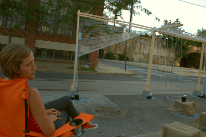 Ann Marie Schneider, one of the park's creators relaxes at the end of the day.