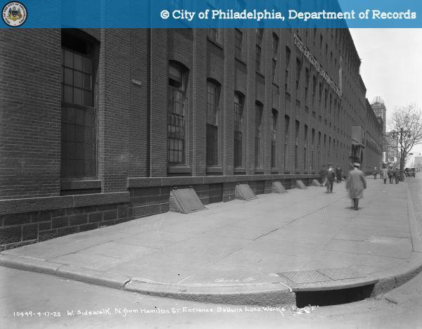 "West Sidewalk, North from Hamilton Street Entrance Baldwin Locomotive Works - Photo ""E""."