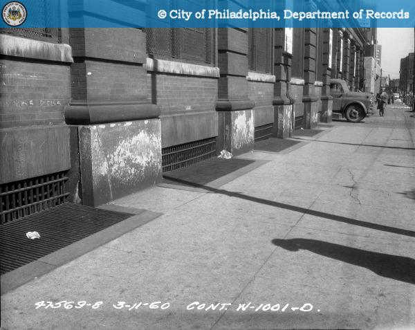 Cont. W-1001-D - Spring Garden Street-North Side - 13th Street to 12th Street: Cracked Pilaster, 1217-1233 Street, 60' West of Driveway-East.