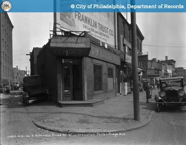 East Sidewalk - Broad Street at Intersection of Potts Street and Ridge Avenue.